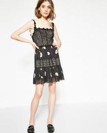 Diseños de vestido de una pieza online-2017 Daisy Black Print Spaghetti Strap Square Neck Lace Lady Dress Mujeres Marca Diseño TK Kooples One Piece Dress MBLO30