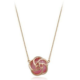 Discount pendant eye brass - Women Flower Crystal Pendant Necklace Fine New Pink Simulated Cat's Eye Hollow Flower Pendant Necklace Women 18K Gold Plated Jewelry