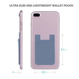 Wholesale Case Smartphones - Ultra-slim Self Adhesive Credit Card Wallet Card Set Card Holder Colorful Silicon For Smartphones For iPhone X 8 7 6S Sumsung S8