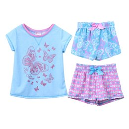 Wholesale Pajamas Children Wholesale - New Kids pajamas children summer pajamas girl cartoon sleepwear kids sleeping suit short clothes suit 3 pieces suit 6s l