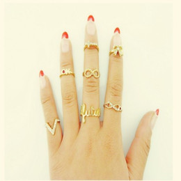 Wholesale Women Finger Tip Ring - Rings for Women 7PCS 1Set Punk Crystal Bowknot Knuckle Midi mid Finger Tip Stacking Rings Wedding Rings Set