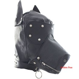 Wholesale Christmas Hat Adult - High Quality Dog Hat Mask With Eyeshade PU Leather Sexy Hood Sex Slave Flirting Product Adult Game Sex Toys