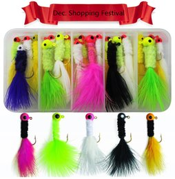Wholesale Jig Head Flies - Crappie Jigs Assorted Colors Lead Head Hook With Marabou Chenille for Bass Pike Walleye Fishing Jig With Feather