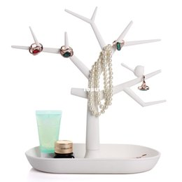 Wholesale Wholesale Jewelry Tree Stands - Multifunctional Tree Branch Shape White color Jewelry Display Earring Bracelet Necklace Ring Display stand for earrings