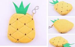 Wholesale Pineapple Purses - Wholesale-Fruit Pineapple Plush Cotton 11CM Pocket Coin Purse Wallet Pouch Case BAG ; Women Lady Bags Pouch Makeup Case Holder BAG Handbag
