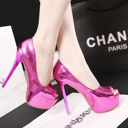 Wholesale Dancing Platform - sexy purple peep toe gold platform dress shoes adorable sexy women high heel pumps shoes dance shoes 3 colors 12CM size 34-39