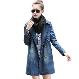 Wholesale Double Breasted Jeans - Wholesale- Long denim women autumn winter jackets full sleeve turn-down collar slim jeans maxi jackets double breasted loose oversized coat