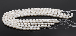 Wholesale Oval Pearl Beads Loose - New Noble Natural Fresh Water Loose Pearl Oval Beads 8-9MM Fine Wedding Jewelry High Quality for Wholesale Free Shipping