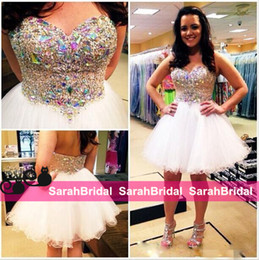 Wholesale Teen Strapless Dresses - Short Sexy White Rhinestone Beads Homecoming Dresses for 2016 Formal Occasion Sweet 16 Juniors Teens Girls Wear Party Prom Cocktail Gowns