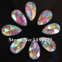 Wholesale Hole Stone - Wholesale-Wholesale Rhinestone 200pcs18x11mm Tear Drop Stone Crystal Clear AB Color Flatback Sewing Crystal 2 Holes For Dress Garment ssb9