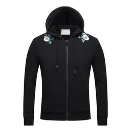 Wholesale Thick Warm Winter Mens Shirts - Flowers Printing Mens Solid Hoodies With Zipper Slim Pullover Sweatshirts Winter Warm Sports Tracksuits O-Neck Long Sleeved Shirts 15538