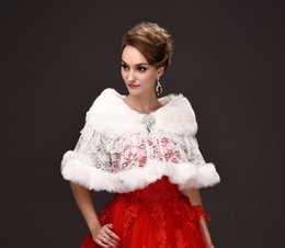 Wholesale Faux Fur Brooches - In Stock White See Through Lace Winter Bridal Wraps Warm Soft Faux Fur Shrug Shawl Bride Prom Party Bridal Women Bolero With Brooch