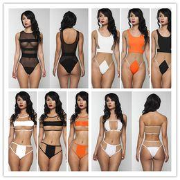 Wholesale Womens Lingerie Corsets - New Sexy Gauze Hollow out Bikini Swimsuit Womens Fashion Monokini Panelled Corset One Pieces Swimwear sexy lingerie