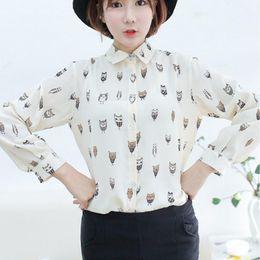 Wholesale Girls Owl Top - w1025 Best Seller Woman Girl Trendy Collar Owl Print Chiffon Long Sleeve Blouse Top Shirt 51019