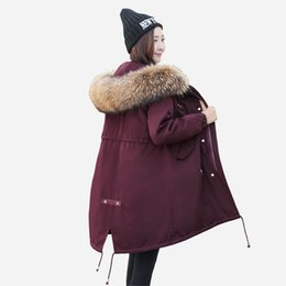 Wholesale Large Size Down Coats - 2017 winter new MON pike jacket female long large size big raccoon fur collar hooded women's down Tooling warm XXXL parkas coats