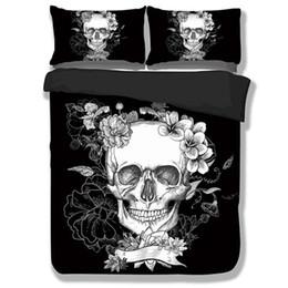 Wholesale Bedding Sets For King Size - Sugar Skull Duvet Cover Sets 3D Black And White Skull Bedding Sets Plaid Duvet Covers For Twin Full Queen King Size Bed Pillowcase