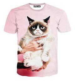 Wholesale Novelty Bells - New women men novelty GRUMPY CAT print t shirt animal 3d sweats sport hip-hop clothes Galaxy t-shirt 5603