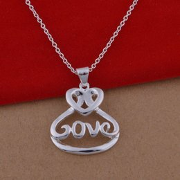 Wholesale Large Love Necklace - 925 sterling silver necklace Korean version of popular large spot LOVE necklace jewelry wholesale trade