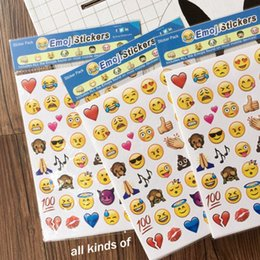 Wholesale kawaii school supplies - 1 sheet 48 Emoji Smile Face Diary Stickers Post It Kawaii Planner Memo Scrapbooking Sticker Stationery 2017 New School Supplies