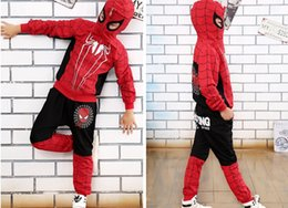 Wholesale Baby Spiderman Costumes - New Spiderman Baby Boys Clothing Sets Cotton Sport Suit For Boys Clothes Spring Spider Man Cosplay Costumes KIds Clothes Set