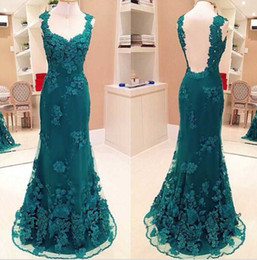 Wholesale Chiffon Couture Red Evening Gown - Backless Mermaid Floral Evening Prom Dresses 2016 Floor Length Couture Special Occasion Dresses Sweetheart Prom Party Gowns Free Custom Made