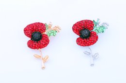 Wholesale uk brooch - 100% Top Quality Gold Tone Bright Red Crystal British Fashion Poppy Brooches For UK Remebrance Day Gift Royal British Legion Flower Poppy