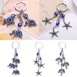 Wholesale Starfish Cartoon - Fashion Key Chain Elephant Starfish Small Tree Turkey Blue Eyes Wicked Keychain Bag Car Pendant 3 Styles Women Accessorices Gift D307Q