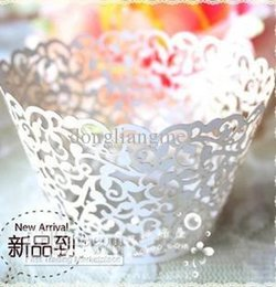 Wholesale Laser Cut Lace Wedding - wedding Cake Wrapper 120pc white Ivory Laser-cut Lace Cupcake Wrapper FOR Wedding christmas Party Decoration (set of 120) O#37E