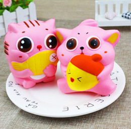 Wholesale Kids Eating - 30pcs Newest 12cm Jumbo Kawaii Squishy Kitty Cat Eat Fish Slow Rising Soft Scented Toys Squishies Kids Adult Gifts Free shipping