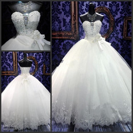Wholesale Strapless Bling Wedding Ball Gown - Hot Sell Princess Wedding Dresses 2015 Spring Elegant Ball Gowns Bling Beaded Crystal Sweetheart Neck Lace Up Puffy Quinceanera Tulle Dress