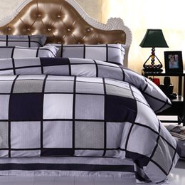 Wholesale Boys Full Size Comforter - 100%Cotton 4Pcs King Queen Full Twin Size Black White Plaid Bedding sets kids boys girls bed sheet set fit sheet Duvet cover