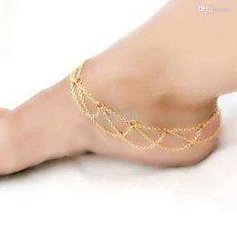 Wholesale Mesh Bracelet Tassel - Wholesale-Beach Jewelry Barefoot Sandal Ankle Foot Link Mesh Tassel Chain Anklet Bracelet
