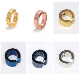 Wholesale Fake Earrings Men - Faves Simple Fake Earrings Pierce Stainless Steel Hoop Clip Earring Wide Clip on Ear for Men Women