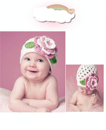 Wholesale Flower Knit Hat - Crochet owl hat Girls princess hat Two pieces of big flower cap by hand High quality Caps Children's winter wool hat Knitted cap