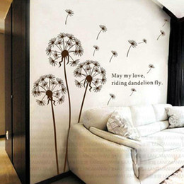 Wholesale Dandelions Sticker - 35.43*23.62inch Classic Creative Dandelions Wall Sticker Home Decor Living Room Bedroom Large Removable Stickers Self Adhesive New