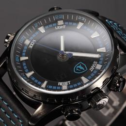 Wholesale Digital Lcd Display Clock - Shark Brand Blue Luminous Scale Dual Time LCD Display Clock Leather Strap Digital Hours Analog Men Military Quartz Sport Watch   SH134