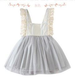 Wholesale Korean Style Girls Lace Dress - 2017 Kids Girls Dress Tulle Lace Bow Party Dresses Baby Girl TuTu Princess Dress Babies Korean Style Suspender Dress Children's clothing