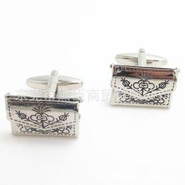 Wholesale Retro Cufflinks - Wholesale cufflinks exquisite upscale retro pattern purse black wallet French Cufflinks Cufflinks CZ