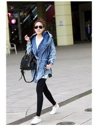 Wholesale Denim Jackets Hoodie Women - Wholesale-Women Hot Denim Coat Hoodie Coat Fashion Hooded Adjustable Waist Outerwear Jeans Jacket