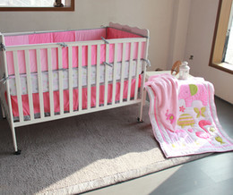 Wholesale Pink Crib Dust Ruffle - 8 Pieces Cater's Crib Baby Bedding Blanket Set Embroidery Pink flamingos Baby Nursery Crib Bumper Quilt Fitted Sheet Dust Ruffle