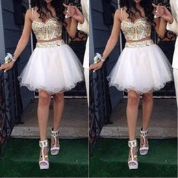 Wholesale Homecoming Prom Dresses Stones - Stunning Two Piece Short Homecoming Dress Gold and White Luxury Gold Stones Spaghetti Straps Prom Gowns Custom Made High Quality
