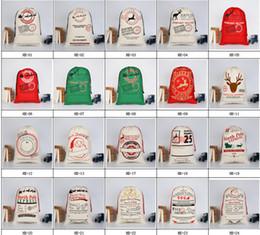 2019 decorações vermelhas em prata de mesa de natal 2017 Natal grande lona Monogrammable Papai Noel com cordão saco com renas Monogramable Natal Presentes Sack Bags