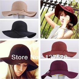 Wholesale Hat Retro Vintage - 2013 NEW Vintage Retro Wool Felt Crushable Wide Brim Cloche Fedora Floppy Sun Beach Hat Cap Goth Bowknot Band