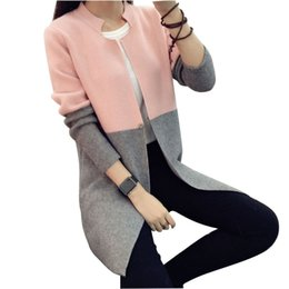 Wholesale Thick Cardigans For Women - Wholesale- 2016 New Winter Long Pink Sweater Contrast Color Slim Sweet Cardigan Female Knitted Sweater Coat Cardigan For Women