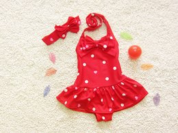Wholesale Cute Girls Bathing Suits - 2015 kids Swimwear Dot dot short skirt one-piece children Beach bathing suit with cute bowknot Hair band girls Hot spring bathing suit ab887