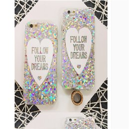 Wholesale Diamond Bling Heart Iphone - Fashion Bling Sparkle Crystal Silicone Case For iphone 6 Diamond Laser Lover Heart Cover Case For Iphone 5 6 6plus