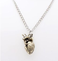 Wholesale Single Rhinestone Necklace - asos Europe and America hollow anatomical heart-shaped necklaces heart pendant gold necklaces foreign trade of the original single