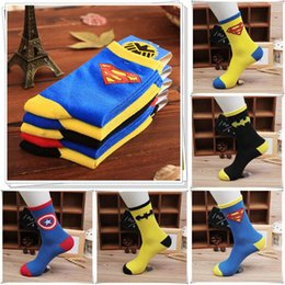 Wholesale Best Men Slippers - Batman Superman Mens socks Sports Cotton Super Hero sock For Men Best gift 5 COLORS IN STOCK LA63