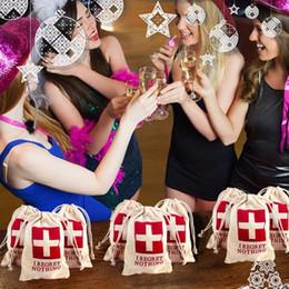Wholesale Events Bags - 10pcs Wedding Hangover Kit Bags 10*15cm Cotton Wedding Favor Holder Bag Bachelorette Party Decorations Event Party Supplies
