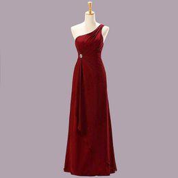 Wholesale Lace Bridesmaid Dresses Jacket - Hot ! Free Shipping New 2015 Evening Dresses Black Marine Claret Buttercup One Shoulder Floor Length Chiffon Bridesmaid Dress Prom Dresses